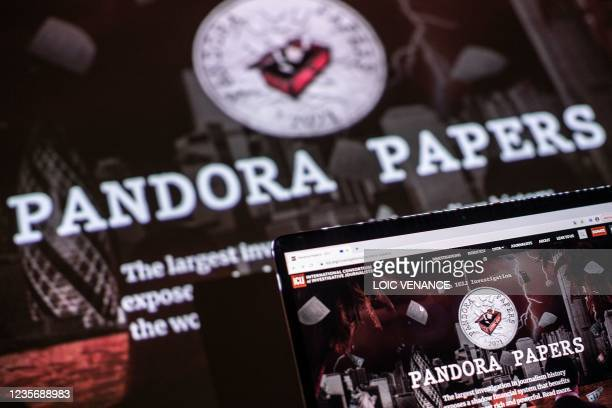 This photograph illustration shows the logo of Pandora Papers, in Lavau-sur-Loire, western France, on October 4, 2021. - Russia on October 4...