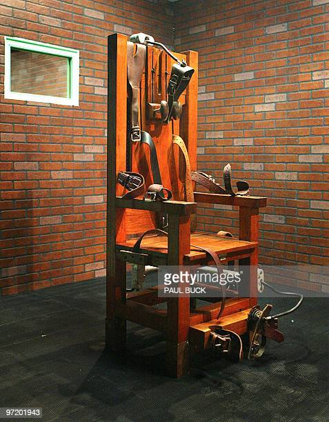 This photograph is an exhibit showing the electric chair nicknamed Old Sparky which stands at the Texas Prison Museum in HuntsvilleTexas 07 December...