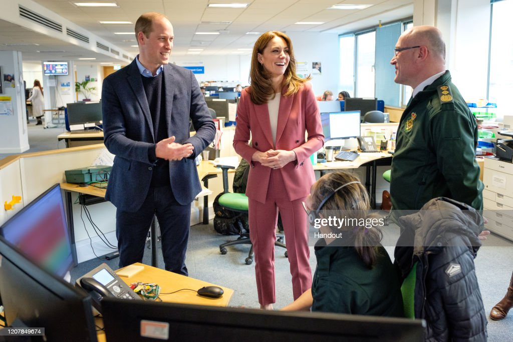 The Duke And Duchess Of Cambridge Visit The London Ambulance Service 111 Control Room : News Photo