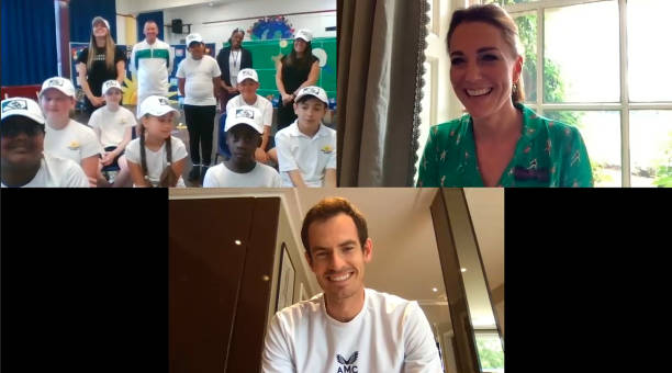 GBR: The Duchess Of Cambridge And Andy Murray Speak To Young Tennis Fans From Bond Primary School