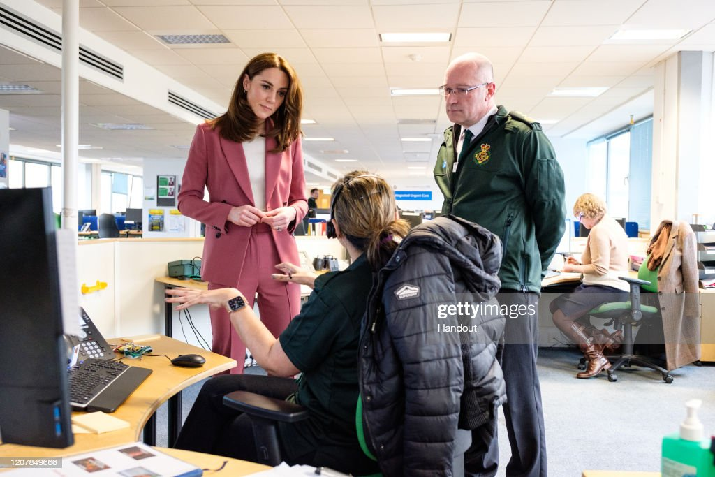 The Duke And Duchess Of Cambridge Visit The London Ambulance Service 111 Control Room : News Photo