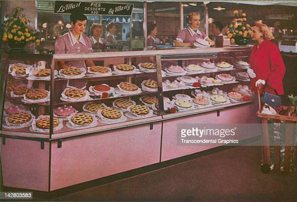 This photograph of the bakery at the Los Angeles Farmers Market is part of a promotional booklet issued in Los Angeles California circa 1950