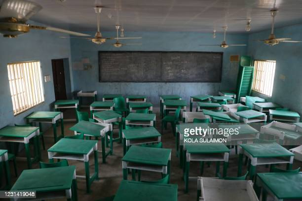 This photograph shows a deserted classroom at the Government Girls Secondary School, the day after the abduction of over 300 schoolgirls by gunmen in...