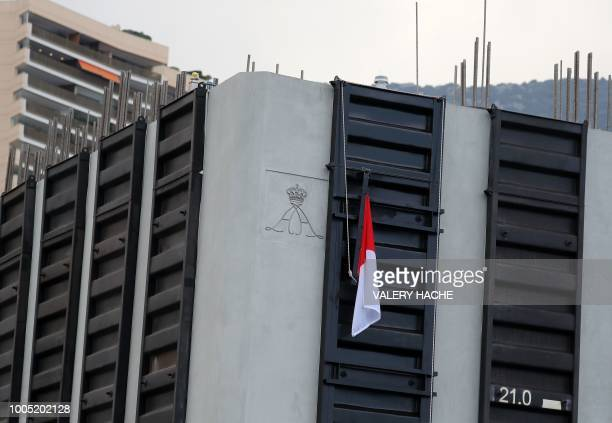 This photograph shows a detail of a land reclaimation construction project in Monaco on July 25 ahead of a ceremony attended by dignitaries including...
