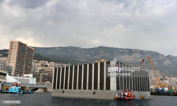 This photograph shows a general view of a land reclaimation construction project in Monaco on July 25 ahead of a ceremony attended by dignitaries...