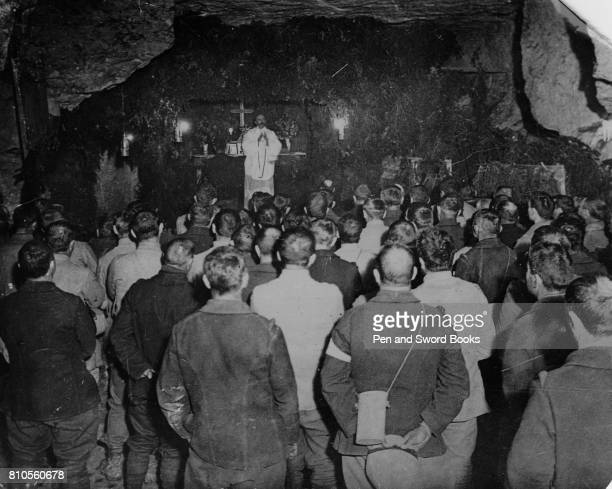 This Photograph Shows Devine Service Being Held in a Stone Quarry on the Western Front The Huns have Rendered Services in the Beautiful Cathedrals of...