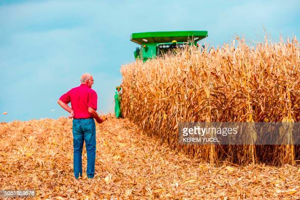 This photograph shows farmer Bill Sorg as he poses in Hastings Minnesota on October 3 2018 US President Donald Trump has visited Minnesota twice in...