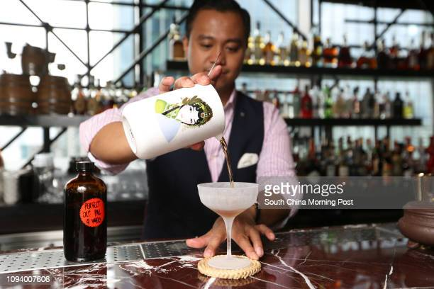 This photograph shows Joe Villanueva mixing the 'Perfect Old Pal' at Red Sugar in Kerry hotel Hung Hom bay Kowloon 10AUG17 SCMP / Xiaomei Chen...