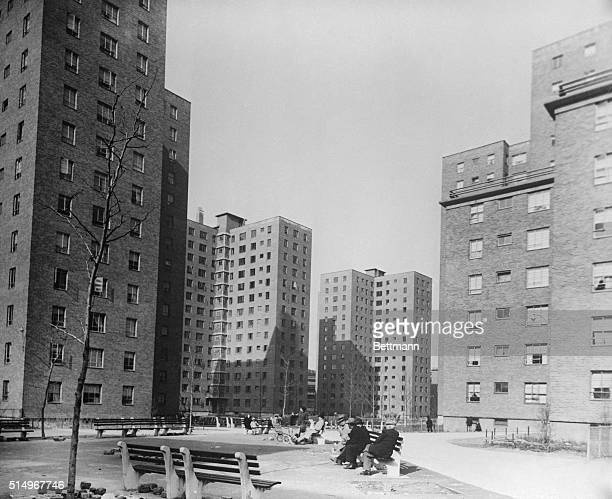 This photograph shows the James Weldon Johnson Housing Project on 112th Street and Lexington Avenue