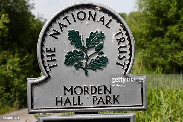 The National Trust oak leaf emblem Morden Hall Park