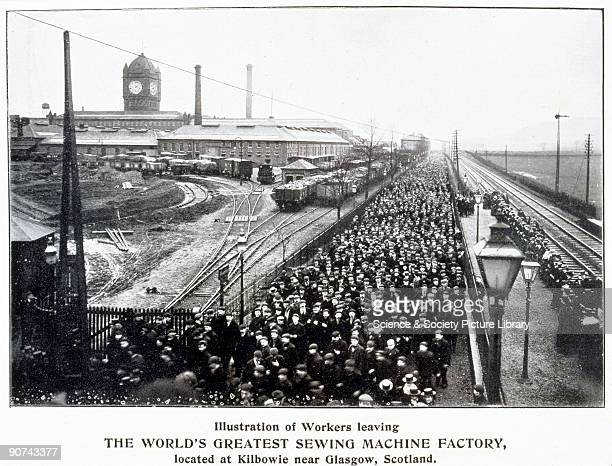 This photograph shows workers leaving the 'The World's Greatest Sewing Machine Factory' at Kilbowie near Glasgow in Scotland Isaac Merritt Singer...