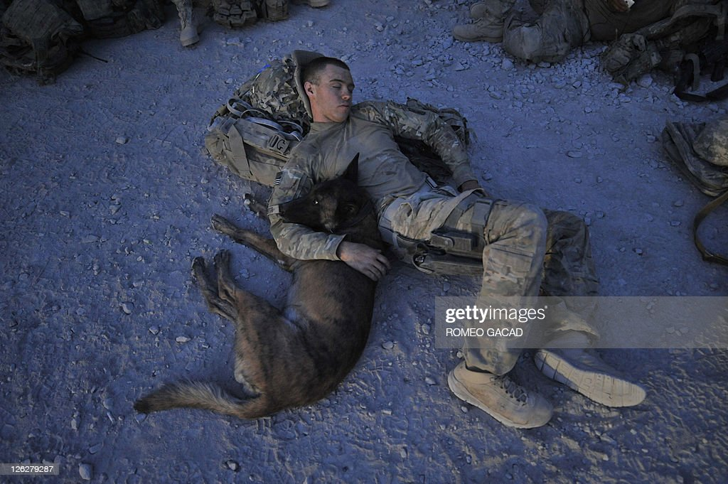 This photograph taken August 15, 2011 shows US Army Specialist Justin Coletti of US Forces Afghanistan K-9 combat tracker team resting with Dasty, a Belgian Malinois at an airfield of Forward Operating Base Pasab following a five-hour overnight air assault mission with Bravo Company, 2-87 Infantry Battalion, 3rd Brigade Combat Team in Maiwand district, Kandahar province. Dasty who has a rank of a Sergeant, is a military working dog trained to patrol and locate a target individual and is currently deployed in southern Afghanistan saving lives of coalition forces in its war against Taliban insurgents.