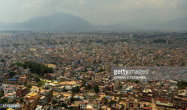 This photograph taken from an Nepal army military helicopter shows a general view of Kathmandu on May 28 2015 More than 8600 people died in the two...
