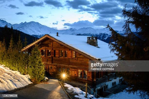 This photograph taken late on December 22, 2020 shows the wooden chalet Helora, owned since 2014 by Britain's Prince Andrew, Duke of York and his...