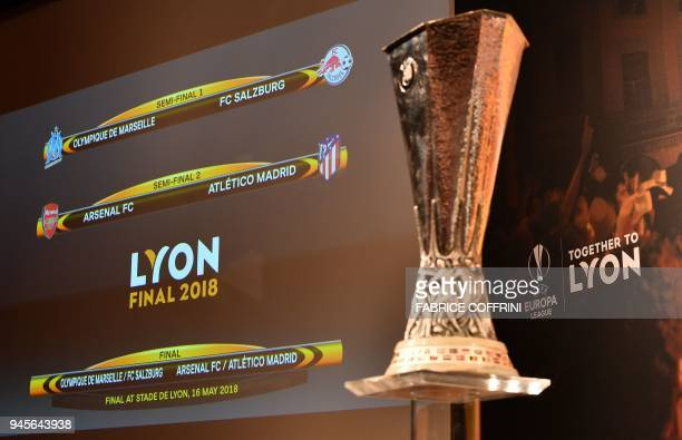 This photograph taken on April 13 shows a screen displaying the fixtures next to the trophy after the draw for the semifinals round of the UEFA...