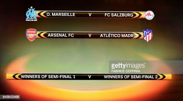 This photograph taken on April 13 shows a screen displaying the fixtures after the draw for the semifinals round of the UEFA Europa League football...