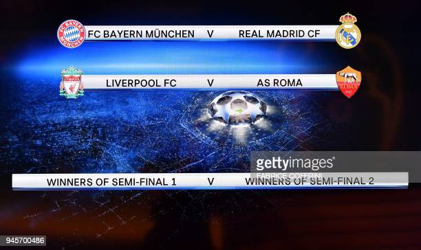 This photograph taken on April 13 shows a screen displaying the fixtures after the draw for the semifinals round of the UEFA Champions League...