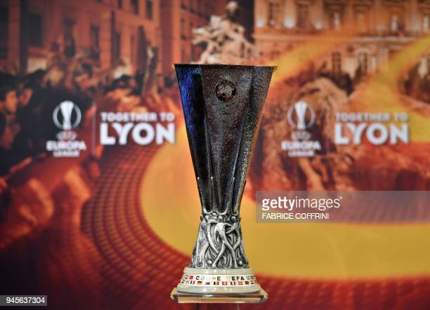 This photograph taken on April 13 shows the UEFA Europa League Trophy ahead of the draw for the semi-finals round of the UEFA Europa League football...