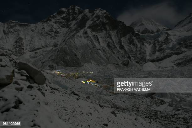 This photograph taken on April 26 shows expedition tents at the Everest base camp some 140 km northeast of Nepal's capital Kathmandu