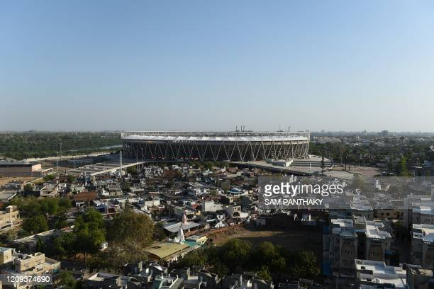 This photograph taken on April 3, 2020 shows a general view of the Sardar Patel Stadium, the world's biggest cricket stadium, during a...