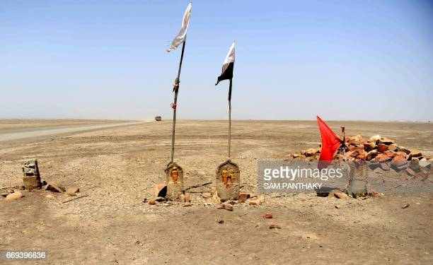 This photograph taken on April 8 shows' Paliyas' or memorial milestones of Agariyas or salt pan workers who died in accidents in the Little Rann of...