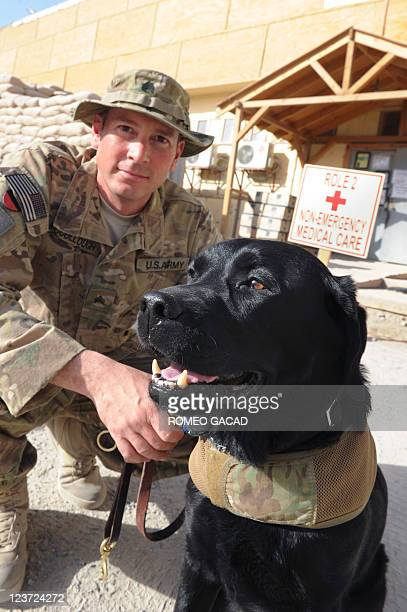 This photograph taken on August 19 2011 shows US Army occupational therapist Sergeant Paul McCollough posing next to Zeke a therapy dog outside the...