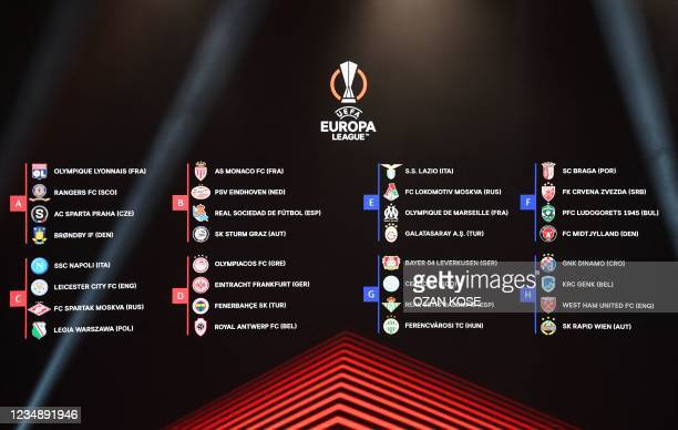 This photograph taken on August 27 shows a screen displaying the fixtures for the UEFA Europa League football cup after the draw for the UEFA Europa...