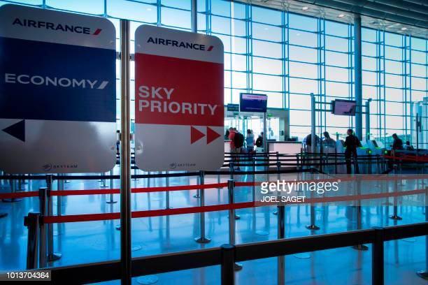 This photograph taken on August 6 shows Air France airline boarding gate counters in Terminal 2E at RoissyCharles de Gaulle Airport north of Paris