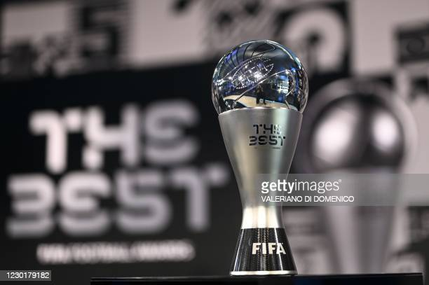 This photograph taken on December 17, 2020 shows the Best FIFA trophy on display ahead of The Best FIFA Football Awards 2020 ceremony, at the FIFA's...