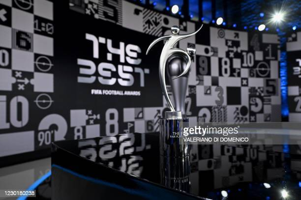 This photograph taken on December 17, 2020 shows the FIFA Fair Play trophy on display ahead of The Best FIFA Football Awards 2020 ceremony, at the...