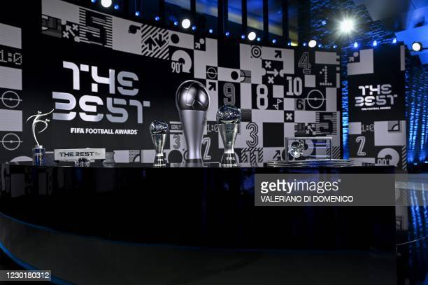 This photograph taken on December 17, 2020 shows trophies on display ahead of The Best FIFA Football Awards 2020 ceremony, at the FIFA's headquarters...
