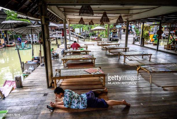 This photograph taken on February 12 2020 shows the empty food court of the Floating Market in Pattaya Pattaya is one of the main destinations for...