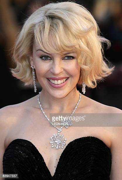 This photograph taken on February 20 shows Australian singer Kylie Minogue arriving at Earl's Court in London ahead of the Brit Awards 2008 Kylie...