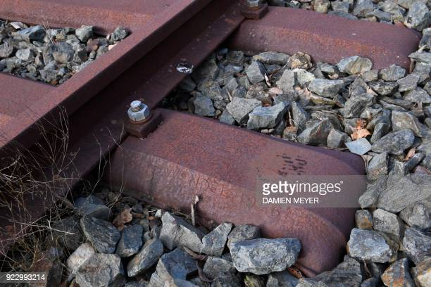 This photograph taken on February 20 shows rusty sleepers dating from 1926 at the rail station in Plancoët western France A report by former Air...