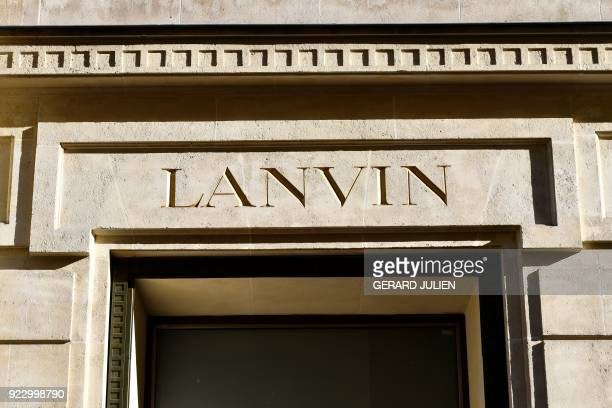 This photograph taken on February 22 shows details of signage at Lanvin Headquarters in Paris Chinese conglomerate Fosun has snapped up the ailing...
