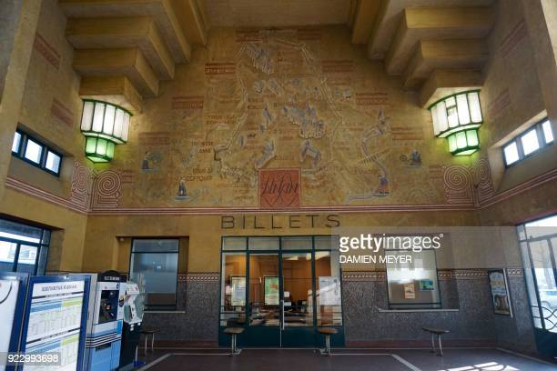 This photograph taken on February 22 shows the station hall of Dinan western France with a map of former railway lines A report by former Air France...