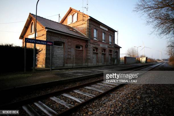 This photograph taken on February 22 shows the train station at Chépy northwestern France which is served by the railway line connecting Le Treport...