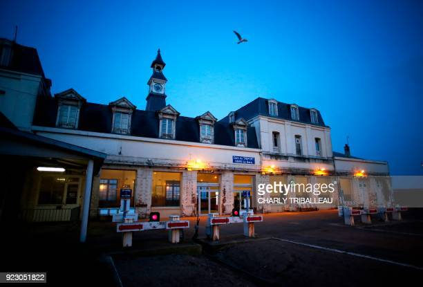 This photograph taken on February 22 shows the train station at Le Tréport northwestern France which is served by the railway line connecting Le...