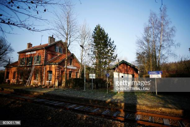 This photograph taken on February 22 shows the train station at QuesnoyleMontant northwestern France which is served by the railway line connecting...