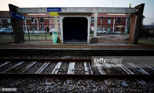 This photograph taken on February 22 shows the train station at Woincourt northwestern France which is served by the railway line connecting Le...