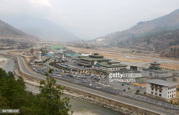 This photograph taken on February 28 2017 shows a general view of Paro airport / AFP PHOTO / DIPTENDU DUTTA