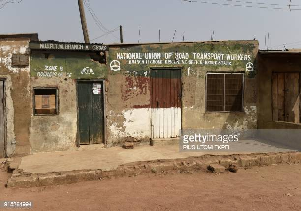 This photograph taken on February 3 shows the office of The National Union of Road Transport Workers as it stands locked at Gboko bus station in the...
