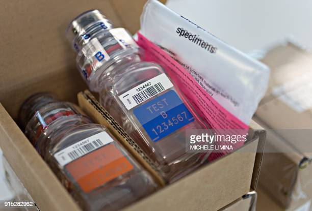 This photograph taken on February 7 shows a BEREGKIT for drug and doping control at Berlinger AG facility in Ganterschwil which are scheduled to be...