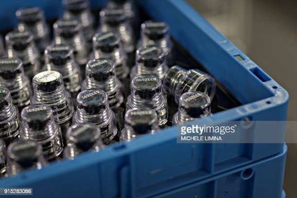 This photograph taken on February 7 shows the production of BEREGKIT for drug and doping control at Berlinger AG facility in Ganterschwil which are...