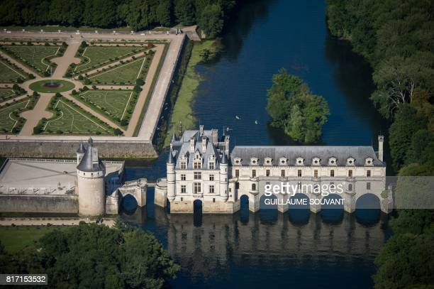 This photograph taken on July 16 shows an aerial view of Chateau Chenonceaux on the River Cher some 30kms east of Tours Built in 1513 by Katherine...