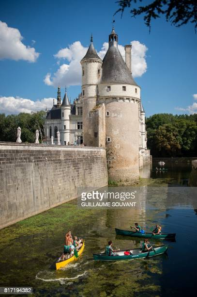This photograph taken on July 17 shows a view of Chateau Chenonceau from the River Cher some 30kms east of Tours Built in 1513 by Katherine Briconnet...