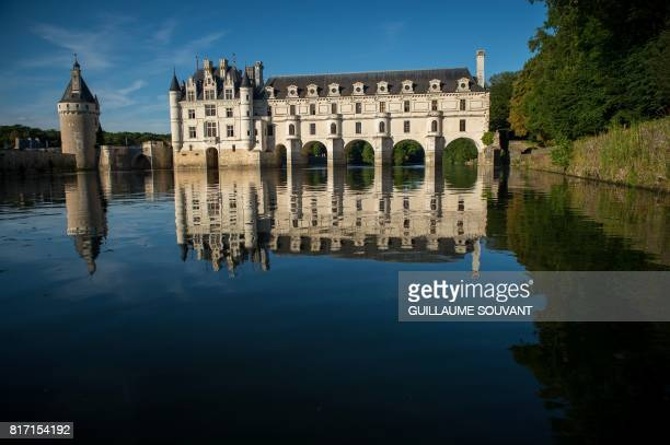 This photograph taken on July 17 shows a view of Chateau Chenonceaux from the River Cher some 30kms east of Tours Built in 1513 by Katherine...