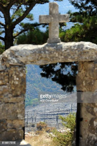 This photograph taken on July 19 shows the burned landscape in the village of Sitno Gornje near the Adriatic coastal town of Split Montenegro asked...
