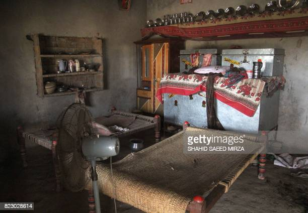 This photograph taken on July 26 shows a view of a room where a Pakistani teenage girl was raped in the neighbourhood of Raja Ram in Muzaffarabad a...