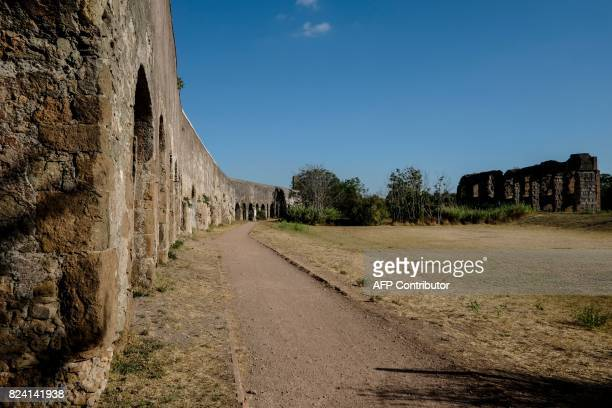 This photograph taken on July 28 shows a general view of the ruins of an ancient Roman aqueduct in a park in a suburb of Rome Two years of...